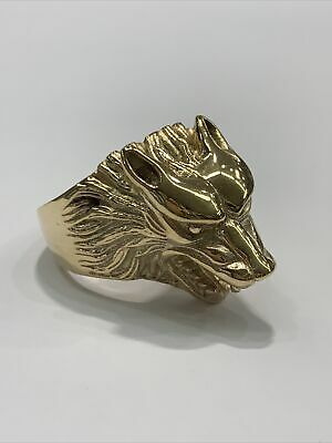 AU1750 • Buy 9ct 9K Yellow Gold Mens Wolf Head Ring. Brand New Instore