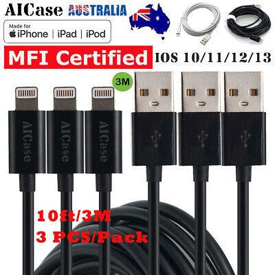 AU24.89 • Buy 3x10ft Lightning USB Charge Cable Charger MFI Certified For IPhone X 7 8 11 12 6