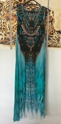 AU230 • Buy Czarina Aqua Teal Heavily Embellished Kaftan Sleeveless Silk Maxi Dress Size 12