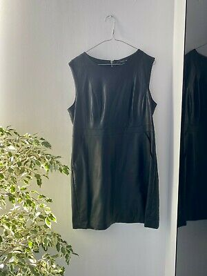 £20 • Buy Warehouse Faux Leather Black Shift Dress - Size 14 - Zip At Back