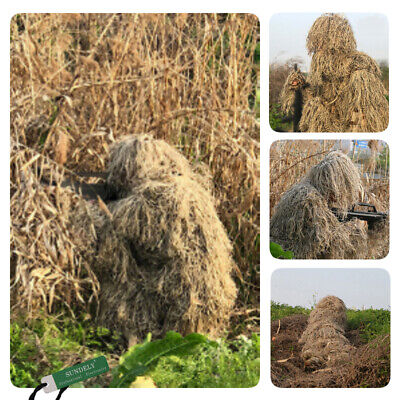 Desert Ghillie Suit Hunting Archery Sniper Wrap Bag Paintball Camo Adult Gilly • 28£