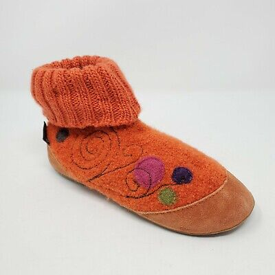 Haflinger Youth Kids Ankle Slippers Boots 33 Orange Boiled Wool Knitted Soft  • 25.94£