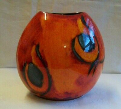 Poole Pottery  20 Cm Peacock Pattern Purse Vase In Excellent Condition • 49.99£