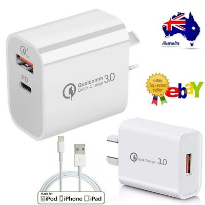 AU12.99 • Buy 18W USB PD Type-C Quick Fast Wall Charger Adapter IPhone 12 11 Samsung AU PLUG