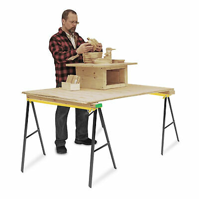 2X Folding Sawhorse Twin Pack Trestle Saw Horse Stands Fold Away Cutting Bench • 36.85£