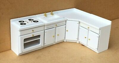 £13.99 • Buy 1:12 Scale 4 Piece White Painted Kitchen Set Dolls House Miniature Accessory 188
