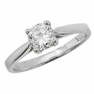 Sterling Silver Cubic Zirconia 6.5mm Sparkling Solitaire Ring, Size O (7193) * • 25£