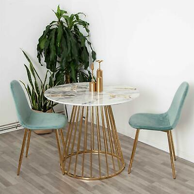 White Round Marble Table With Two Green Velvet Chairs Set Dining Set  • 259.99£