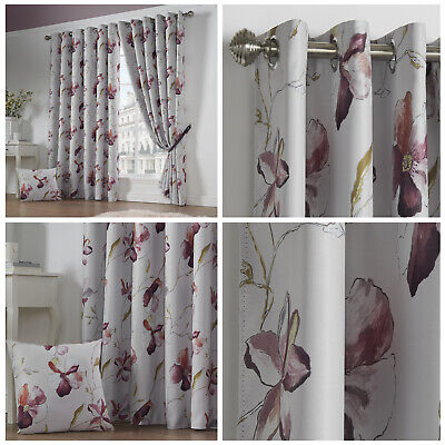 ASCOT Floral Print Woven Lined Blockout Ready Made Eyelet Ring Top Curtains Pair • 32.99£