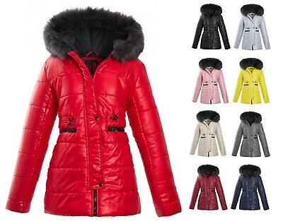 Womens Ladies Quilted Winter Coat Puffer Fur Collar Hooded Jacket Parka Size New • 24.99£