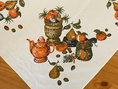 $ CDN66.71 • Buy Vintage Holiday Tablecloth Thanksgiving Christmas Novelty MCM Cotton Fabric
