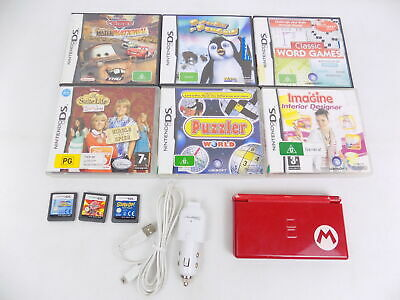 AU69.90 • Buy Nintendo DS Lite - Mario Red Special Edition Console +  Charger + 9x Games