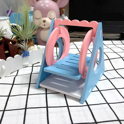 Small Pet Ecological Wood Home Hamster Toy Triangle Swing Chinchillas KY • 4.15£