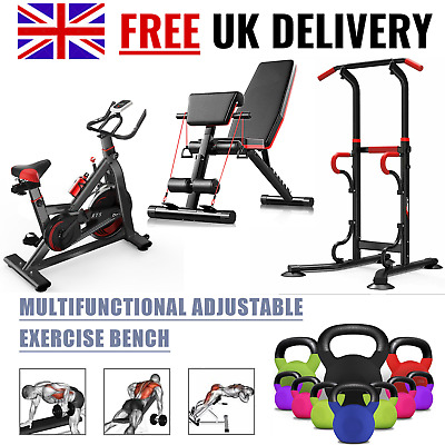 Dip Station Spin Exercise Bike Weight Bench Power Tower Pull Up Kettlebell GYM • 99.99£
