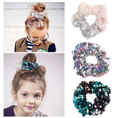$ CDN3.60 • Buy Women Kids Sequin Scrunchie Hair Band Rope Ponytail Accessories Hair Ring KY