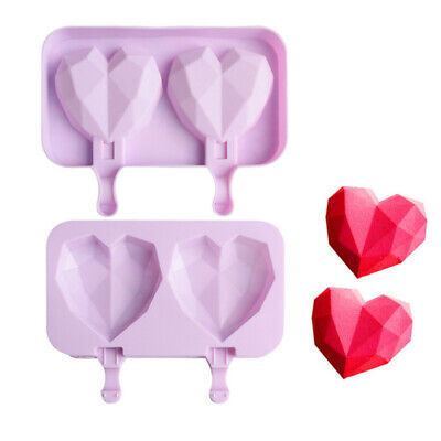 Diamond Love Heart Silicone Ice Cream Mold Ice Lolly Baking Frozen Mould Tray  • 6.66£