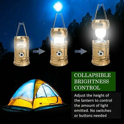 £6.99 • Buy Solar Power Camping Hiking LED Lantern Rechargeable Tent Hanging Light Lamp USB