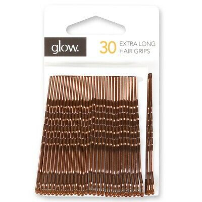 30x EXTRA LONG KIRBY GRIPS Hair Slides Bobby Bun Pins Waved Clips Clamps Brown • 2.49£