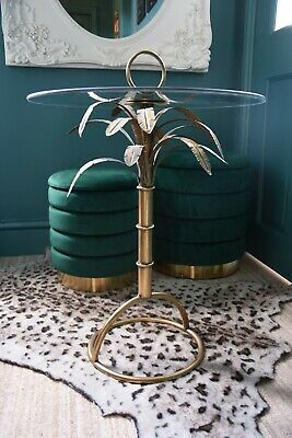£132.99 • Buy Gold Palm Tree Glass Occasional Side Table 71cm Tall