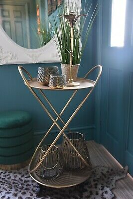 £119.99 • Buy Beautiful Two Tier Art Deco Drinks Trolley In Gold Statement Design 78cm Tall