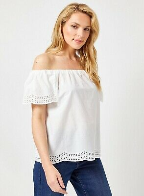 £11.99 • Buy Dorothy Perkins Womens Ivory Embroidered Bardot Top Off The Shoulder Blouse