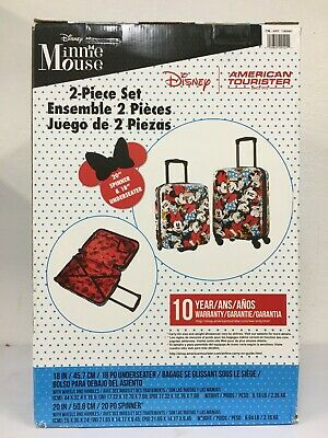 "View Details NEW 2-Piece Minnie Mouse Suitcase American Tourister 20"" Spinner 18"" Underseater • 159.99$"