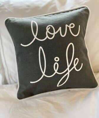Small Grey And White 'Love Life' Cushion  • 14.95£
