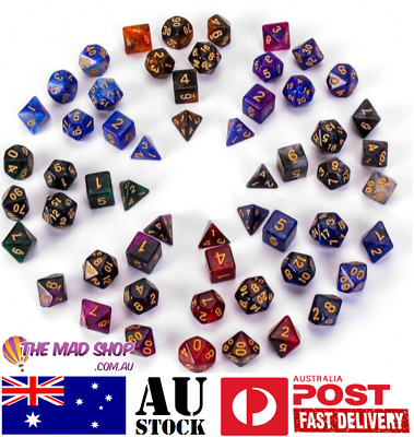 AU14.99 • Buy  Starry Sky Sparkely Resin Dice Dungeons And Dragons Polyhedral 7 Dice Set