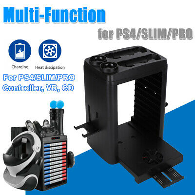 AU63.99 • Buy For PS4 Pro / Slim Vertical Stand + Cooling Fan Controller Charging Dock Station