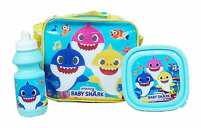 Baby Shark  Pinkfong Character 3 Pcs Insulated Kids Lunch Bag • 12.99£