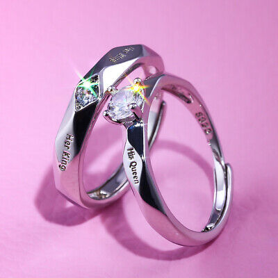 £5.39 • Buy  King&Queen  Valentines Day Gifts Lover For Him Her 925 Silver Rings Love Couple