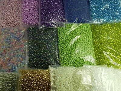 £1.99 • Buy 50g Glass Pearl,silver,opaque.seed Beads, Size 11/0- 2mm,8/0- 3mm.Various Colour