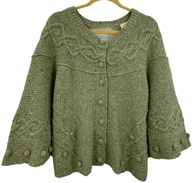 $ CDN31.06 • Buy Anthropologie Far Away From Close Green Crossback Cable Cardigan Sweater Size L