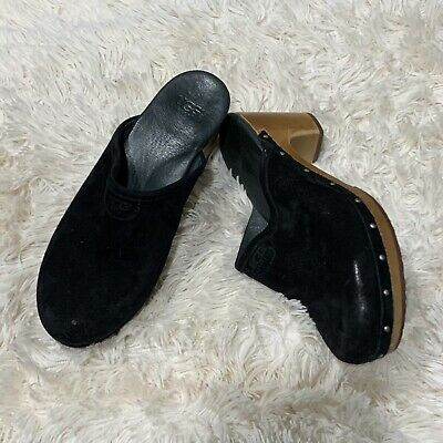 £28.31 • Buy UGG Abbie Black Suede Sherling Lined Clogs / Mules Size 7