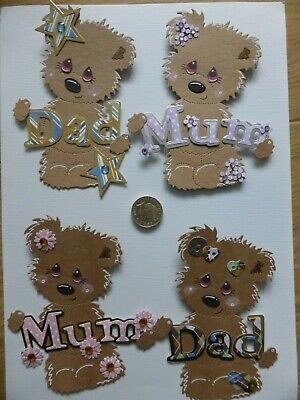 £4 • Buy 4 Large Mum & Dad Birthday Mother's Father's Day Handmade Card Toppers