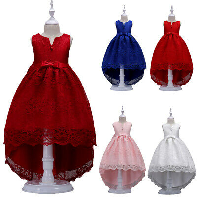 Bridesmaid Flower Girls High Low Wedding Party Dress Pageant Prom Lace Dresses • 21.99£