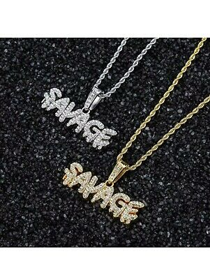 £11.50 • Buy Savage Necklace Gold Silver Plated  Iced Out Hip Hop Jewelry Chain Bling Gift