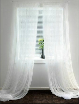 IKEA LILL Pair Of Long Sheer Floaty White Net Curtains 280 X 250cm FREE POST • 9.45£
