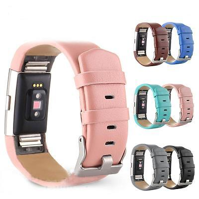 AU24.68 • Buy Leather Fitbit Charge 2 Replacement Band Strap Secure Wristband