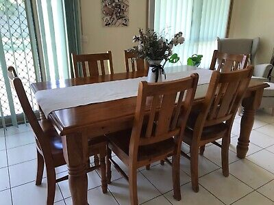 AU350 • Buy 6-Seater Dining Table And Chairs 7 Pcs Dinner Set – Solid Pine