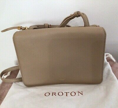 AU149 • Buy OROTON Byron Crossbody Bag Pebble Leather,  Fawn Colour, BRAND NEW, RRP $329.00