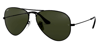 AU99.99 • Buy Ray-Ban RB3025 L2823 58mm AVIATOR Green G-15 Lenses Black Frame Sunglasses