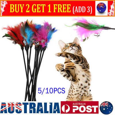 AU13.98 • Buy 10Pcs Kitten Toy Cat Feather Bell Wand Teaser Rod Interactive Play Pet Toys AU
