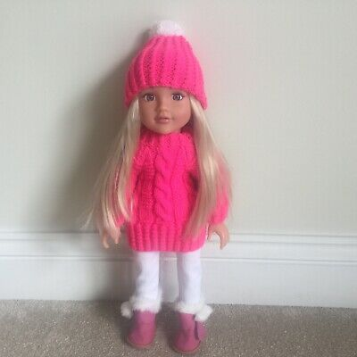 Hand Knitted Dolls Jumper And Matching Slouchy Hat To Fit 18in Design A Friend • 7.99£