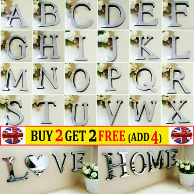 3D 26-Letters Mirror Silver Acrylic Wall Decor Mural Home Sticker DIY Art Decals • 2.15£