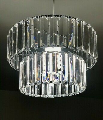 £39.95 • Buy 28cm Stunning Two Tier Florence Chandelier Crystal Pendant Shade For Ceiling