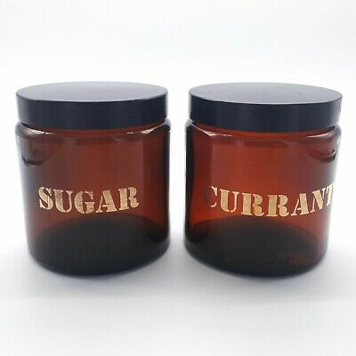 X2 Vintage Jars Canisters For Sugar And Currents Twist On Lids Amber Glass 1970s • 19.95£