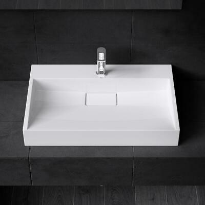 £70 • Buy Durovin Bathrooms White Sink Wall Hung Countertop Stone Resin Basin Only 500mm