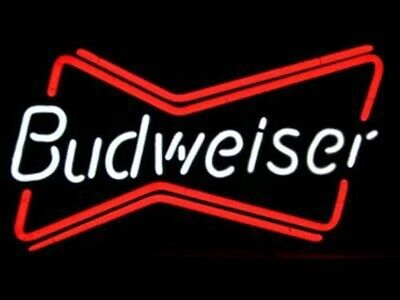 $ CDN112.22 • Buy New Design Budweiser Bowtie Real Glass Neon Sign Beer Bar Light