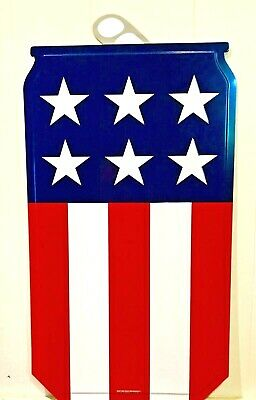 """$59.95 • Buy Miller Lite American Flag Can Shaped Tin Tacker Sign - New & F/S  35"""" X 19"""" Huge"""